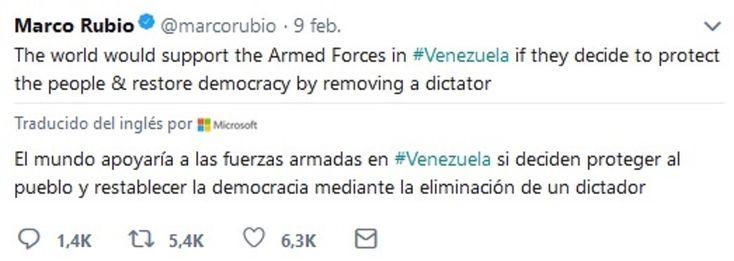 Este es el twit del 9/febrero en el que @marcorubio llama a cometer un magnicidio en #Venezuela. No lo ha retirado, como muestra de su intervencionismo violatorio de todas las normas del Derecho Internacional. #NoAMarcoRubio #VivaVenezuela y la Unión Cívico Militar de su pueblo.