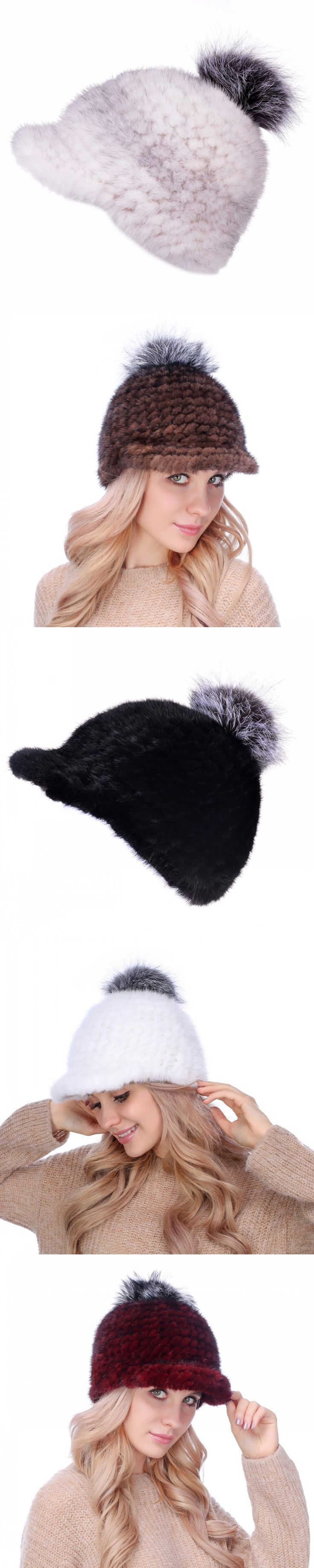 The new leisure mink hat Leather Hat Korean lady fox ball ball cap warm mink peaked cap