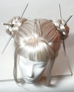 Silver Cyber Geisha Wig