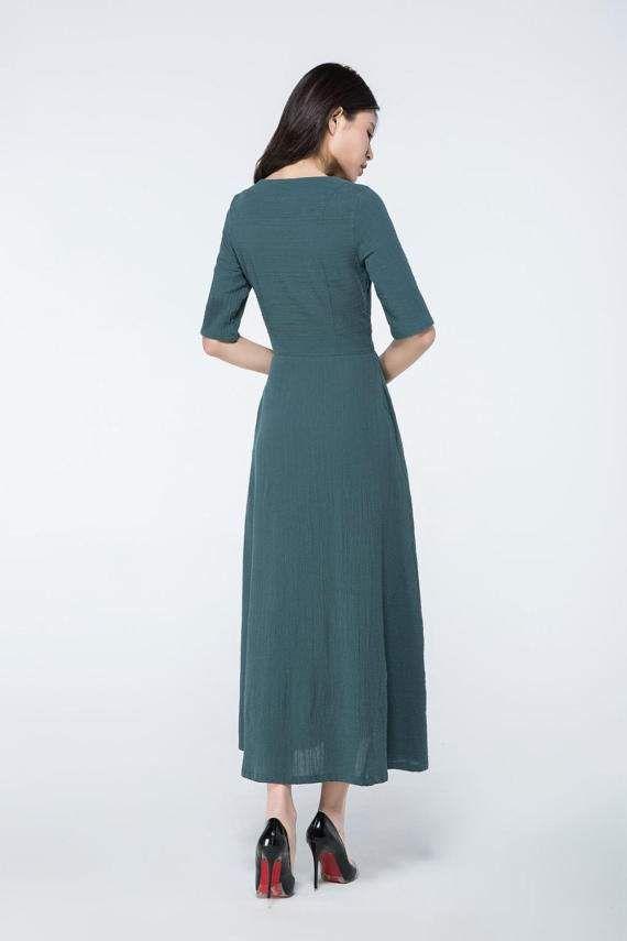 donker groene jurk linnen maxi jurk maxi jurk met mouwen