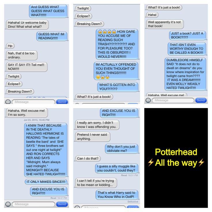 Potterhead texts Harry potter vs. twilight