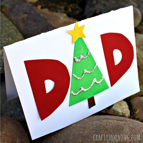 Make a fun and easy homemade christmas card for dad. We made the a into a christmas tree. This is perfect for kids to make as a gift idea.