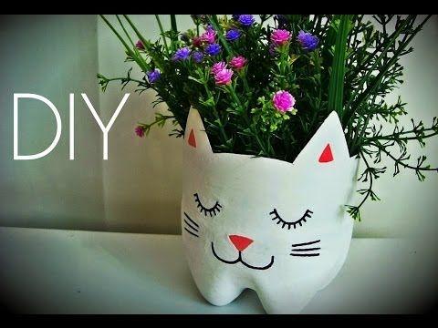 ♥ DIY: Como Fazer Vaso de Plantas Gatinho ♥ (Reciclagem Garrafa Pet)   Ideias Personalizadas - DIY - YouTube