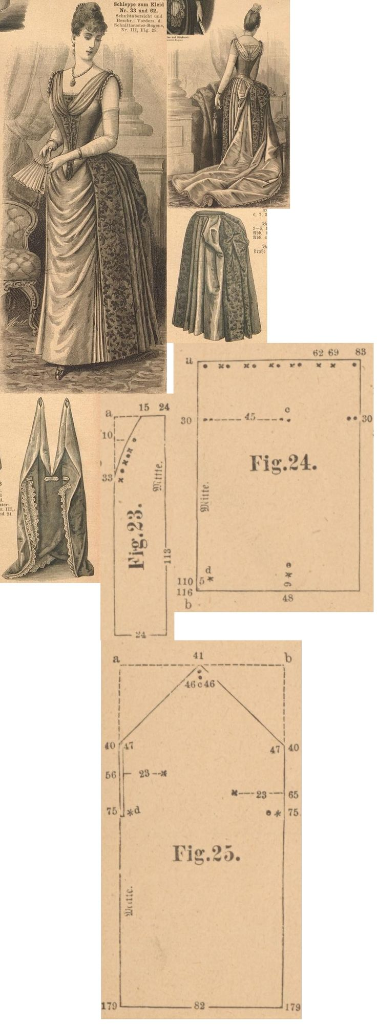 Der Bazar 1889: Dim pink atlas and similar toned damast frisé ball dress with detachable train; 23. and 24. skirt's gores, 25. train's part