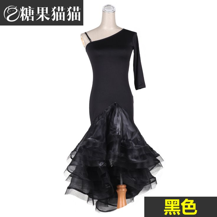 Latin dance performance wear sexy oblique adult female Latin one-piece dress dance dress