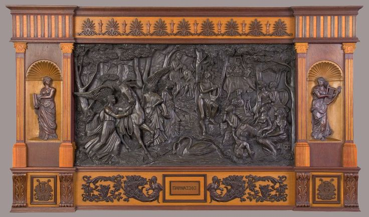 """J. M. Félix Magdalena.- """"PARNASO"""", Relieve tallado en madera de sapelly, 171 x 105 x 13 cm"""