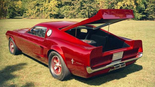 … And at the rear, the Mach 1 Concept was a hatchback with a dramatic ducktail spoiler. - Ford Motor Company