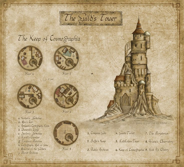Guild's Tower by MaximePLASSE map castle cartography | Create your own roleplaying game material w/ RPG Bard: www.rpgbard.com | Writing inspiration for Dungeons and Dragons DND D&D Pathfinder PFRPG Warhammer 40k Star Wars Shadowrun Call of Cthulhu Lord of the Rings LoTR + d20 fantasy science fiction scifi horror design | Not Trusty Sword art: click artwork for source