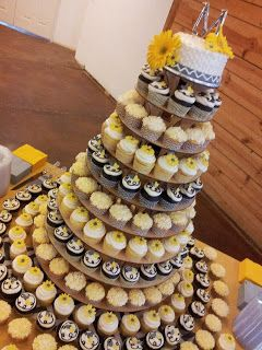 Cake Whimsy: Yellow and Gray Chevron Wedding Cupcake Tower but without the sunflowers