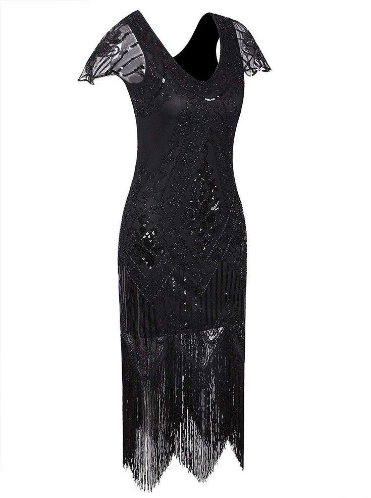 1920er Jahre Vintage Gatsby Art-Deco-Pailletten Perlen V-Ausschnitt lange Cocktail Flapper Kleid mit Ärmeln – X-Small Black Beige
