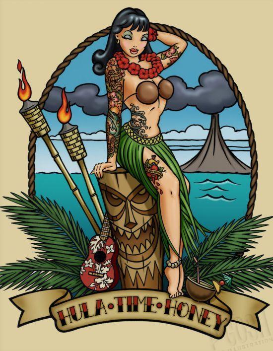Tiki hula tattoo