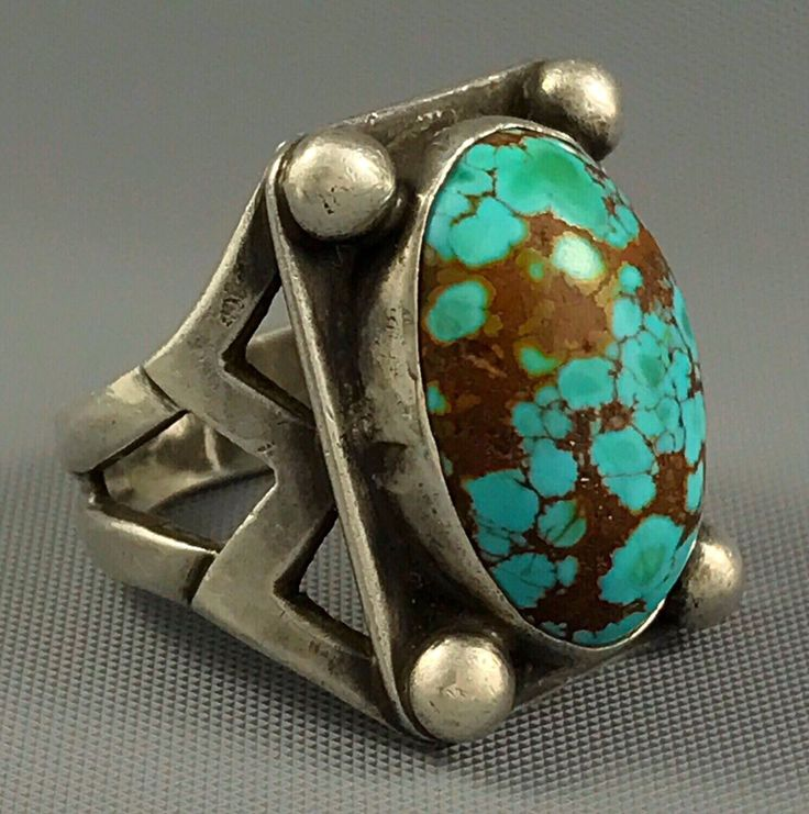 1940s Navajo INGOT Coin Silver ROYSTON SPIDERWEB Turquoise