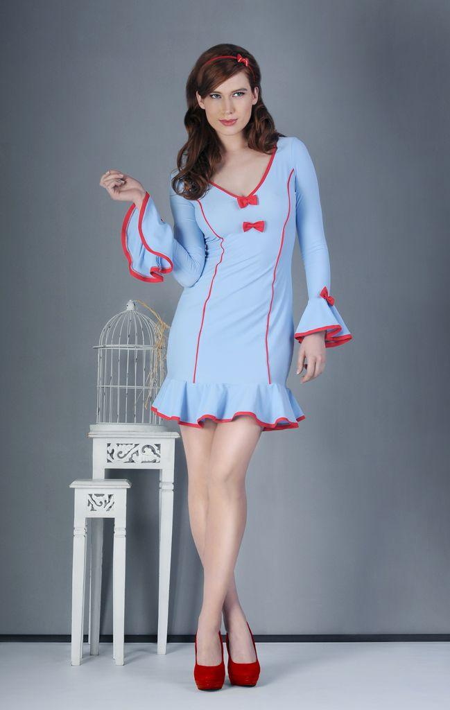 Blue & Red,  vintage dress