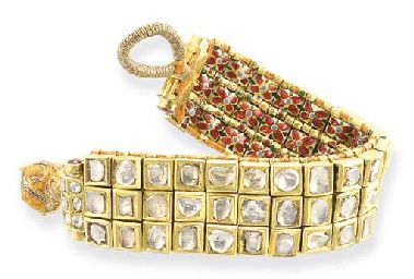 A DIAMOND AND ENAMEL BRACELET India, circa 1880 you can wear from both sides.
