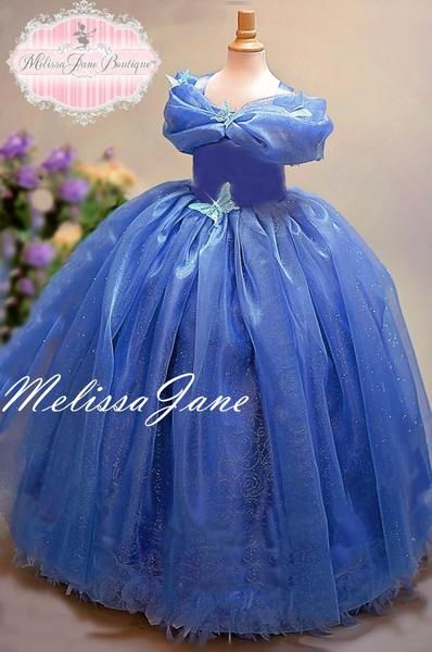 ddbdfa01c26 Inspired Cinderella Blue Movie Princess Dress - with a touch of Feathers