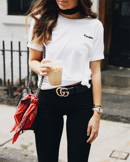 Wearing Black Gucci Belt