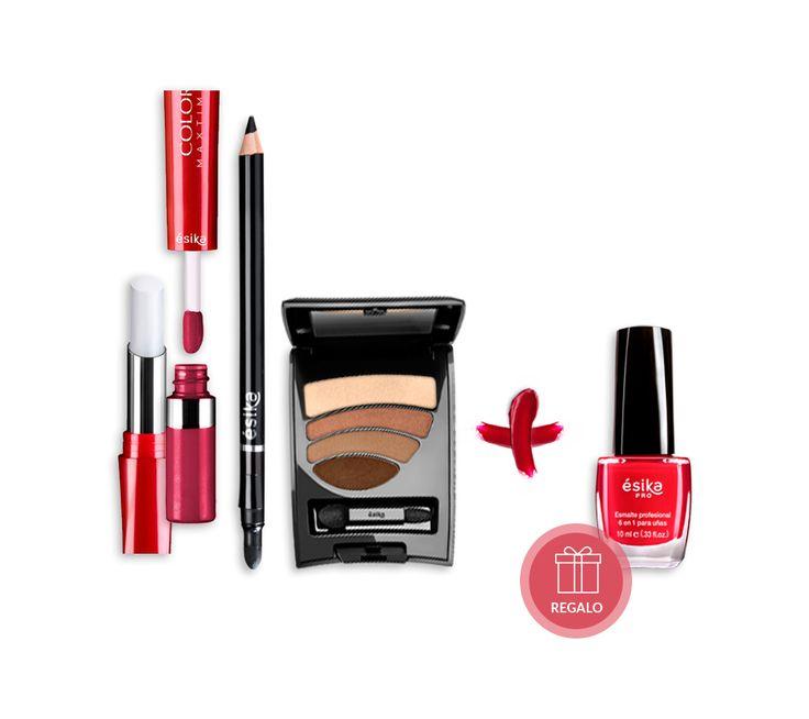 Este pack fue creado para toda mujer que quiere que su maquillaje refleje su éxito. El pack incluye un Labial Duo Tatoo (Tono: Pimienta Caliente) , unDelineador Khol con difuminador (Tono: Negro), un Cuarteto de sombras (Tono: Marron Classic) . Incluye de regalo un Esmalte 6 en 1 (Tono: Rojo Ésika).