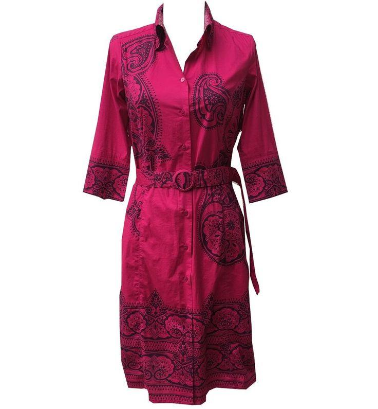Robert Graham Signature Women's Paisley Print Button Down Belted Shirt Dress XS #RobertGraham #SidesSplitButtonDownShirtDress #CareerParty