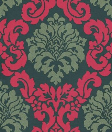 Radnor (W5795/09) - Osborne & Little Wallpapers - A bold two colour damask trellis design. Available in 9 colourways – shown here in red and silver gold on black. Sorry metallic effect doesn't show well in image. Please ask for a sample for true colour match.