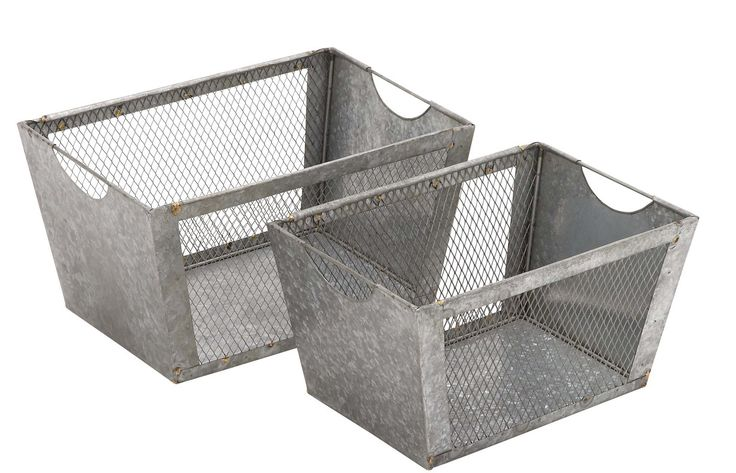 2 Piece Wire Basket Storage Set