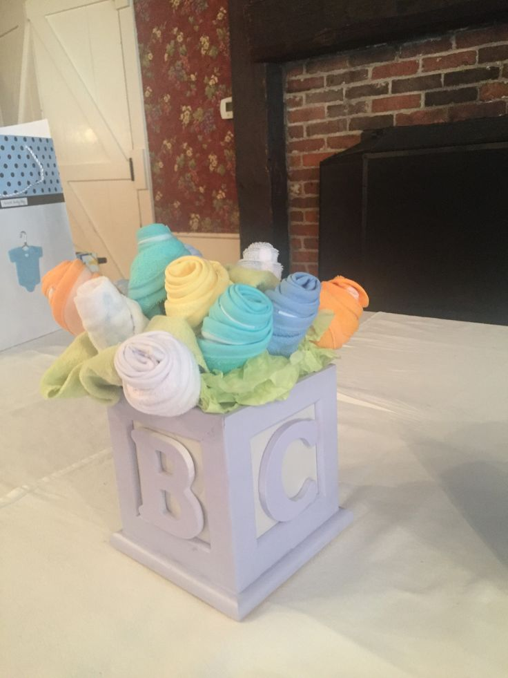 Baby shower centerpiece Made from Michaels wooden box picture frame and wooden letters glued