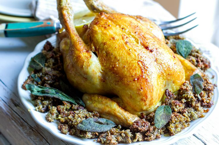 Roast Chicken With Inside Out Stuffing - paleo and gluten free friendly, perfect for Christmas dinner, Thanksgiving or your next Sunday roast. Must try!