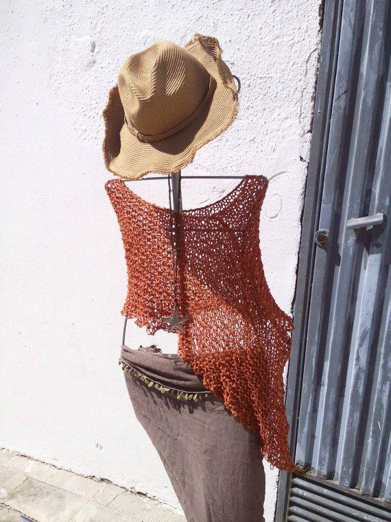 Boho chic poncho summer knit poncho beach boho cover brown