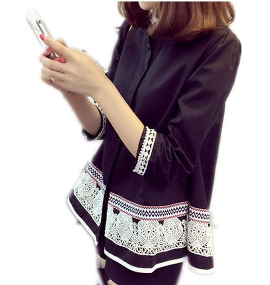 Plus Size Blouses 2016 Autumn Fashion Vintage Embroidery Lace Blouse Loose Black White Women Tops Shirts Blusas Y Camisas Mujer