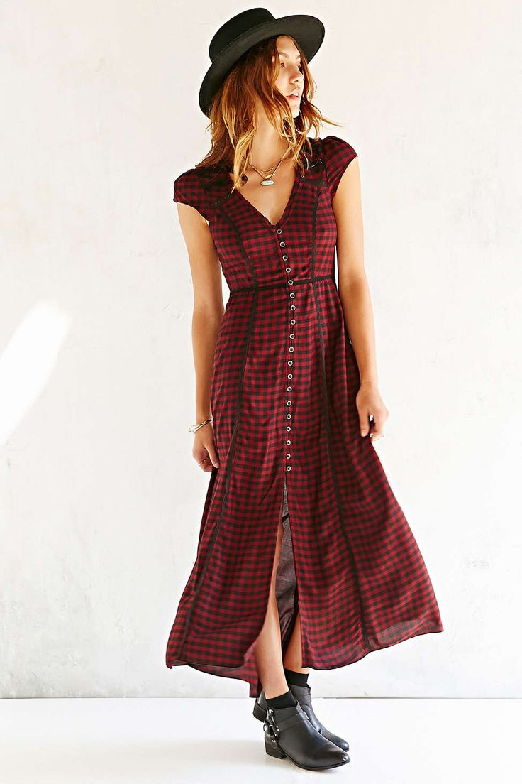 ecote plaid buttonfront maxi dress