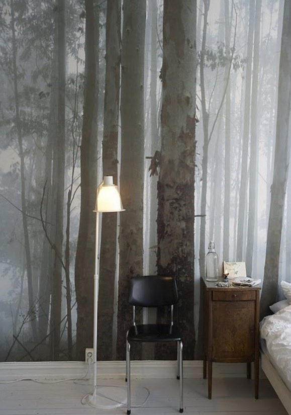 Forest wallpaper-  accent wall in craft rom