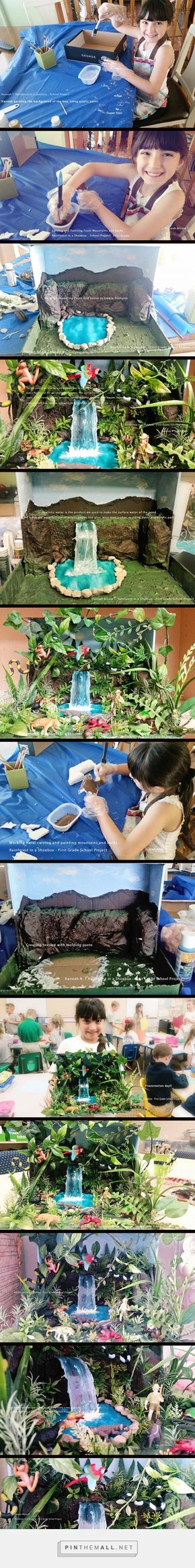 This is my version of the Rainforest shoebox diorama that we did with my daughter Hannah in first grade. Now she is a happy homeschooler.  I found a great video in YouTube  that inspired me to do this with confidence!. Here are the  photos of the steps and materials that I used  to make it. I didn't find a better way to upload the photos but if you know how to do it without using pinthemall, please let me know by leaving a comment!