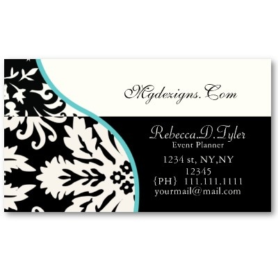 46 best elegant damask business cards images on pinterest business chic retro french floral damask business cards black white and aqua by mg reheart Gallery