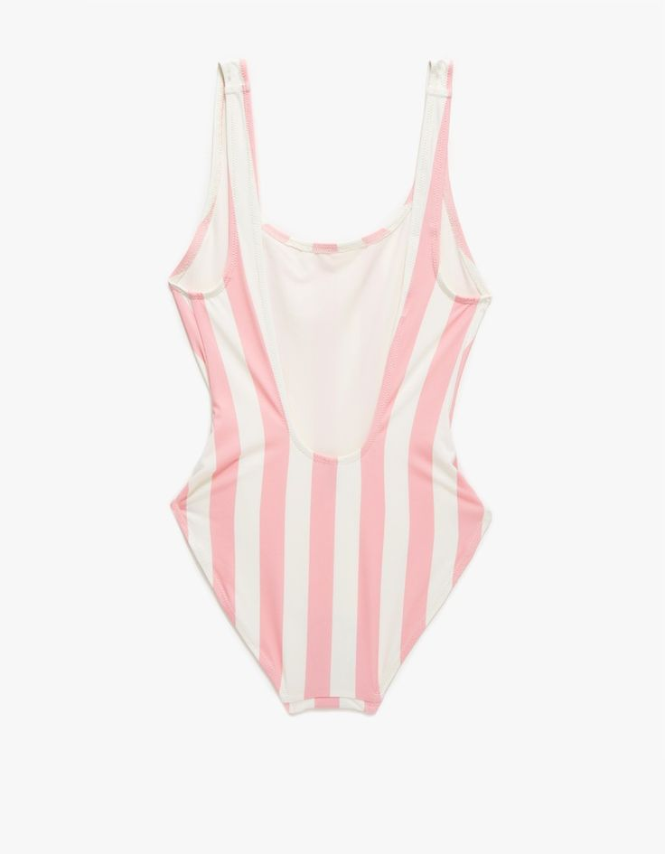 From Solid & Striped, a one-piece swimsuit with an allover pink and white striped pattern. Features a contoured shape and low scoop back. • One-piece striped swimsuit • Contoured shape • Low scoop back • 80% polyamide, 20% elastane • Hand wash