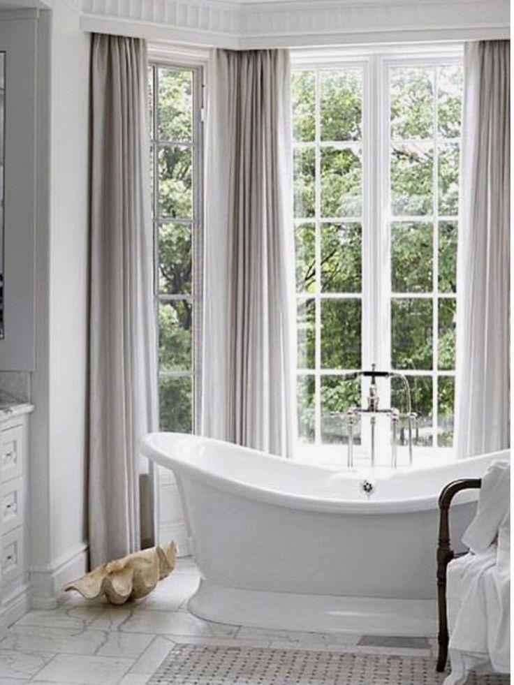 Master Bathroom Drapes Around Bathtub The Bedroom In 2019