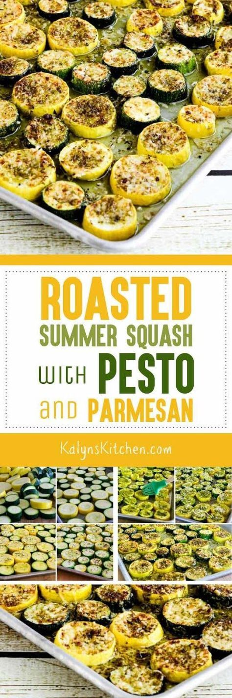 Roasted Summer Squash with Pesto and Parmesan is an absolute winner for a quick and easy way to turn zucchini and yellow squash into something amaing! Your family will ask for this over and over, I promise! [found on KalynsKitchen.com] #Zucchini #YellowSquash #SummerSquash #RoastedSummerSquash #Pesto #Parmesan #LowCarb #Keto #Meatless #GlutenFree