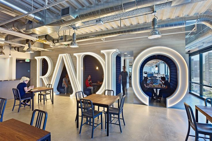 "Internet radio company Pandora, located just across the East Bay from San Francisco. Studios The break area includes custom booths forming the word radio (shown), and recording-studio-inspired meeting rooms that reference Simon and Garfunkel's ""Scarborough Fair,"" among other moments in music history."
