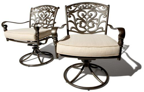 Strathwood St Thomas Cast Aluminum Swivel Dining Arm Chair Set of 2 Strathw