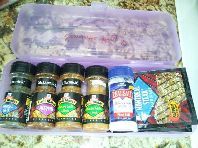 Use a Pencil Box to organize your spices for camping PLUS another one for individual packets of ketchup, mustard etc. (can find @ grocery deli)