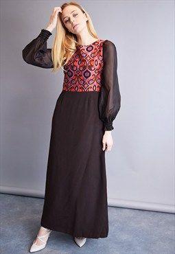 Vintage 70's retro Mod abstract combined elegant maxi dress