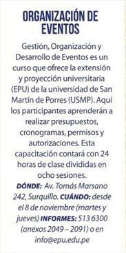 El Comercio - Viú. Gestión, Organización y Desarrollo de Eventos es un curso que ofrece la oficina de Extensión y Proyección Uuniversitaria (EPU) de la Universidad de San Martín de Porres (USMP).