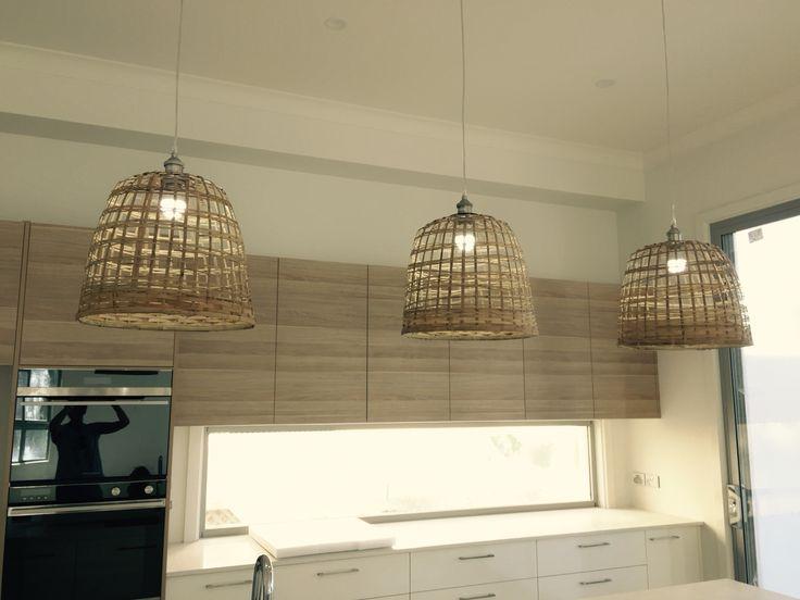 Beautiful DIY hanging basket light shades in kitchen