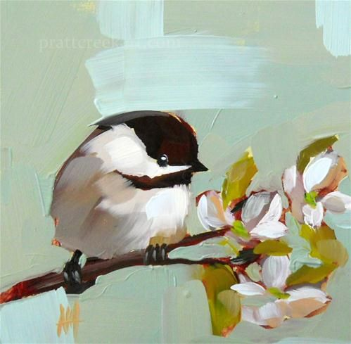 """Chickadee no. 172 Bird Painting by Moulton"" - Original Fine Art for Sale - © Angela Moulton"