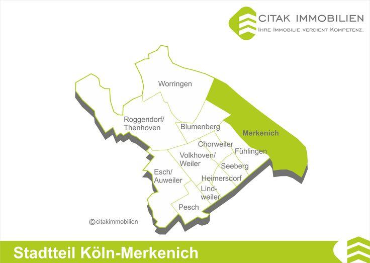 Stadtteil Köln-Merkenich Der Stadtteil Merkenich im Bezirk Chorweiler liegt unmittelbar am Rhein. Seine Nachbarstadtteile im Bezirk sind Fühlingen im Südwesten und Worringen im Nordwesten, im Süden grenzt er an Niehl, einen Stadtteil des Bezirks Nippes.