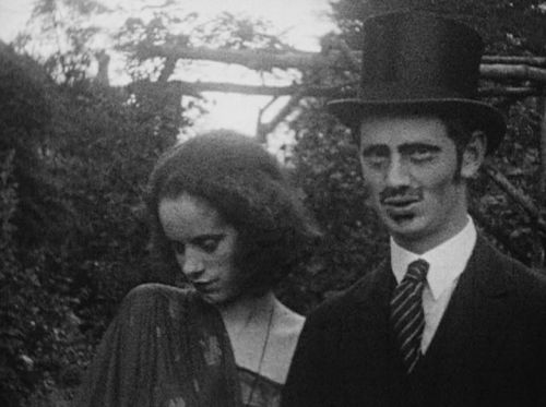 """Elsa Lanchester in """"The Scarlet Woman: An Ecclesiastical Melodrama"""", 1925. Bottom photo with writer Evelyn Waugh."""