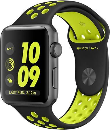 Apple Watch Nike+  — 33490 руб. —  Смарт-часы Apple Watch Nike+, 42 мм Space Grey Aluminium Case with Black/Volt Nike Sport Band корпус из алюминия цвета «серый космос», спорт...