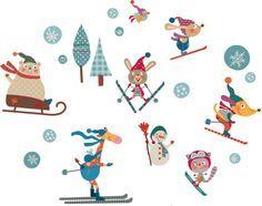 vinilo esquiadores felices