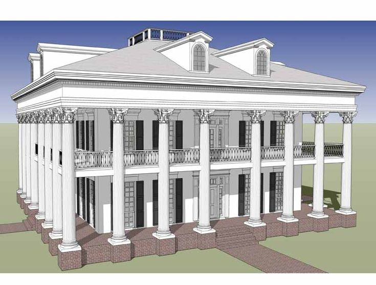 49 best greek revival images on pinterest interior for One story greek revival house plans