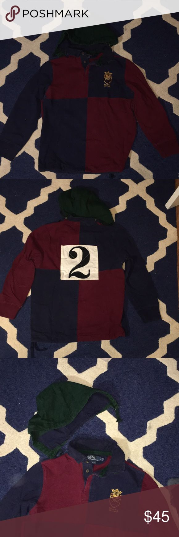 Polo Ralph Lauren Long Sleeve Polo Ralph Lauren long sleeve rugby shirt with detachable hood. Shirt is made of heavy quality material and was lightly worn still in great condition. Size L Ralph Lauren Shirts Tees - Long Sleeve