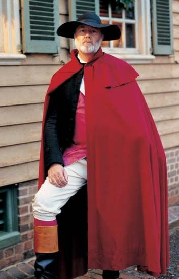 The cloak has been the most enduring of outer garments throughout the history of fashion. In the 18th century a man's cloak was made with a collar at the neck, a cape over the shoulders, and hung to the knee or below. The most usual form was circular. Cloaks were made of dense well-fulled wools, often dyed scarlet.