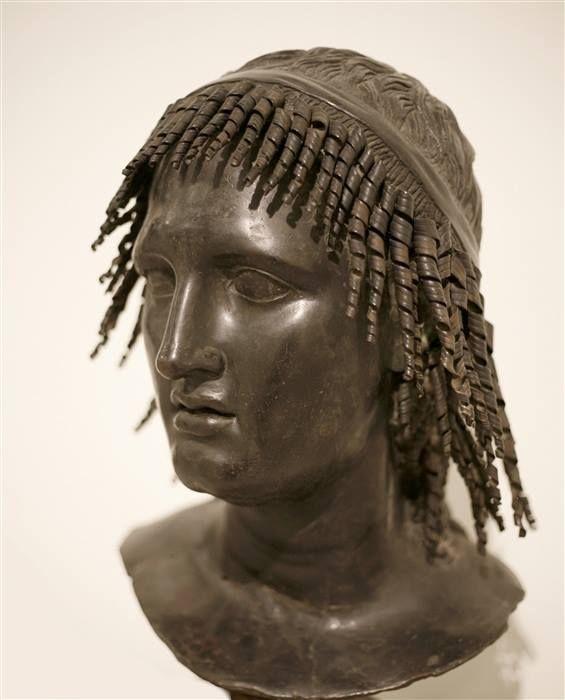 Roman bronze bust of Thespian from the Villa dei Papyri, Herculaneum. National…